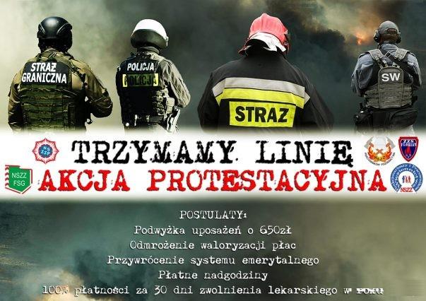 Akcja protestacyjna służb mundurowych. Funkcjonariusze walczą o godne wynagrodzenie