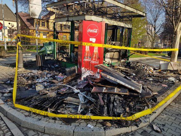 W nocy spłonął kiosk na Placu Kościuszki w Oświęcimiu – ZDJĘCIA!