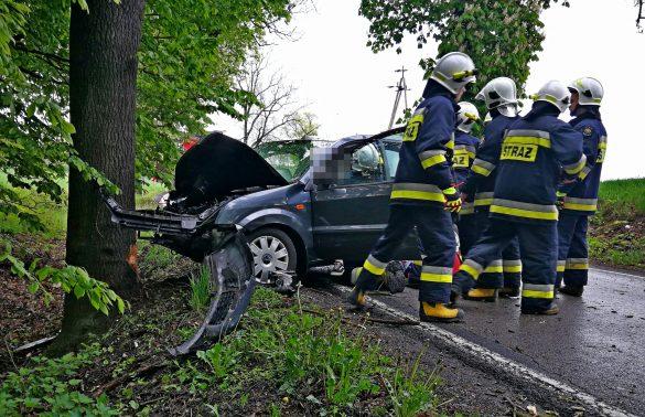 Zdarzenie drogowe w Polance Wielkiej. Samochód uderzył w drzewo – FILM, ZDJĘCIA!