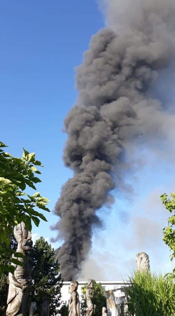 Pożar byłej gumowni w Chełmku – ZDJĘCIA, FILM!
