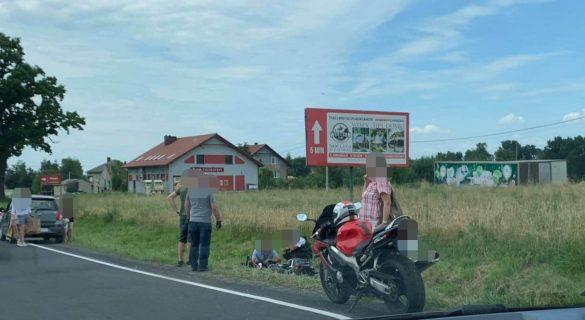Wypadek z udziałem motocykla na DK28