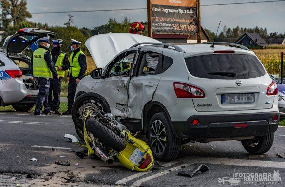 Wypadek z udziałem motocyklisty na DK44 w Oświęcimiu – ZDJĘCIA!